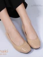รองเท้าคัทชูเสริมส้นสีครีม หนังนิ่มแต่งหัวหนังแก้ว (สีครีม )