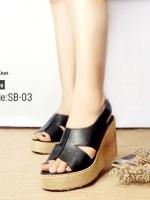 รองเท้าส้นเตารีดรัดส้นสีดำ หนังนิ่ม ทรงเปิดหน้า (สีดำ )