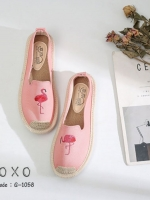 รองเท้าผ้าใบแฟชั่นสีชมพู วัสดุผ้าฝ้าย สไตล์วินเทจ (สีชมพู )