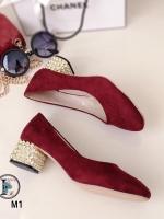 รองเท้าคัทชู ส้นสูง สไตล์MiuMiu แต่งส้นสีทอง (สีแดง )