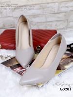 รองเท้าคัทชู ส้นสูง หัวแหลม ซับในกำมะหยี่นิ่ม (สีเทา )