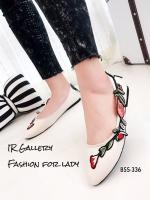 รองเท้าคัทชูส้นแบนหัวแหลมสีครีม ปักดอกไม้ สไตล์gucci (สีครีม )