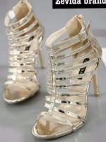 รองเท้าส้นสูง หุ้มข้อ สไตล์เซ็กซี่ ส้นติดซิป (สีทอง )
