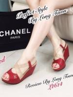 รองเท้าส้นเตารีด รัดส้น สายคาดไขว้ (สีแดง )