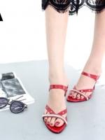 รองเท้าส้นเข็มเปิดส้นสีแดง แต่งหน้าเพชร สไตล์ ZARA (สีแดง )