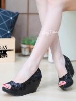 รองเท้าส้นเตารีดสีดำ สไตล์ BAOBAO ทรงสวย TopHit (สีดำ )