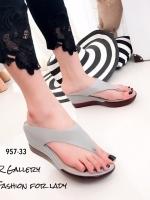 รองเท้าแตะผู้หญิงสีเทา แบบคีบ สไตล์ลำลอง (สีเทา )