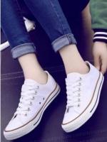 รองเท้าผ้าใบแฟชั่นสีขาว สไตล์คอนเวิร์ส (สีขาว )
