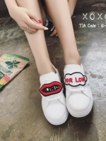 รองเท้าผ้าใบแฟชั่นสีขาว ทีเชือกร้อย แกะเข้าออกได้ เก๋มาก (สีขาว )
