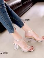 รองเท้าส้นตันรัดข้อสีเทา งานสวยจัด ส้นแก้ว (สีเทา )