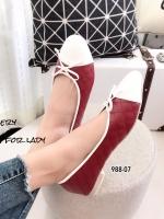 รองเท้าคัทชูส้นแบน หัวกลม หนังนิ่ม ประดับโบว์ (สีแดง )