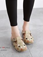 รองเท้าแตะเพื่อสุขภาพ เปิดส้น หนังนิ่ม สไตล์วินเทจ (สีครีม )