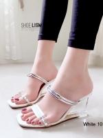รองเท้าส้นสูงสีขาว เปิดส้น สไตล์ MAXI (สีขาว )