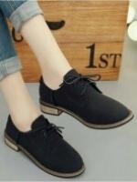 รองเท้าบูททรงเตี้ย แนววินเทจ (สีดำ )