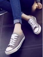 รองเท้าผ้าใบแฟชั่นสีเทา สไตล์คอนเวิร์ส (สีเทา )