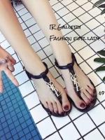 รองเท้าแตะรัดข้อ หนังวิ้งนิ่ม Style Ysl (สีดำ )