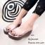 รองเท้าส้นเตารีดเปิดส้นสีเทา พียูใส พื้นผ้าพิ้มพฺลายดอกไม้ (สีเทา ) thumbnail 2
