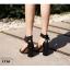 รองเท้าส้นตันรัดข้อสีดำ สายรัดข้อตอกตาไก่ (สีดำ ) thumbnail 3