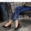 รองเท้าคัทชูส้นสูง หัวแหลม ส้นไม้ (สีดำ ) thumbnail 2