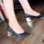 รองเท้าคัทชูหัวแหลม สไตล์ZARA หนังนิ่ม หน้าวี (สีดำ ) thumbnail 4