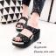 รองเท้าส้นเตารีดเปิดส้นสีดำ สายคาดสองตอน ประดับอะไหล่เพชร (สีดำ ) thumbnail 1