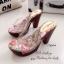 รองเท้าส้นสูง แบบสวม สายคาดแบบใส ลายกุชชี่ (สีน้ำตาล ) thumbnail 3