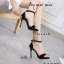 รองเท้าส้นเข็มรัดข้อสีดำ ผ้ากำมะหยี่ สวยระดับ diva (สีดำ )