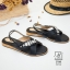 รองเท้าแตะรัดส้นสีดำ สายคาดไขว้ ประดับเพชร (สีดำ ) thumbnail 3