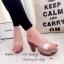 รองเท้าส้นสูง แบบสวม สายคาดแบบใส ลายกุชชี่ (สีเทา ) thumbnail 2