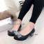 รองเท้าคัทชู ส้นเตี้ย หัวกลม แต่งโบว์ (สีเทา ) thumbnail 2