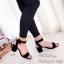 รองเท้าส้นตันรัดข้อสีดำ สายรัดข้อตะขอเกี่ยวปรับได้ (สีดำ ) thumbnail 3