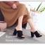 รองเท้าส้นตันสีดำ หนังกลับ แต่งขอบหยัก (สีดำ ) thumbnail 4