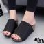 รองเท้าเตารีดเปิดส้นสีดำ ทรงสวม หนังกลับ (สีดำ ) thumbnail 3