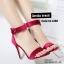 รองเท้าส้นสูง ปิดส้น เข็มขัดคล้องข้อเท้า (สีแดงเลือดหมู ) thumbnail 2