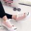 รองเท้าผ้าใบ แบบผูกเชือก สไตล์Jack-purcell (สีชมพู )