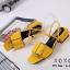 รองเท้าส้นเตี้ยรัดส้นสีเหลือง วัสดุพียู ส้นไม้ (สีเหลือง ) thumbnail 2