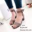 รองเท้าส้นตันรัดข้อสีเทา สายรัดข้อตะขอเกี่ยวปรับได้ (สีเทา )