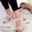 รองเท้าส้นสูง รัดส้น สายคาดเข็มขัดปรับระดับได้ ส้นเหลี่ยม (สีครีม )