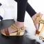 รองเท้าส้นเตารีด รัดส้น สายคาดตอกหมุด สไตล์วินเทจ (สีน้ำตาล ) thumbnail 3