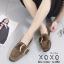 รองเท้าคัทชูส้นแบน หนังสักราจนิ่ม ด้านหน้าทรงตัวยู สไตล์วินเทจ (สีกากี ) thumbnail 5