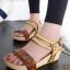 รองเท้าส้นเตารีด รัดส้น สายคาดตอกหมุด สไตล์วินเทจ (สีน้ำตาล )