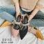 รองเท้าส้นเตี้ยหัวแหลมสีชมพู น้ำหนักเบา ประดับเพชร (สีชมพู ) thumbnail 4