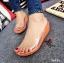 รองเท้าส้นเตารีดเปิดส้นสีส้ม สไตล์ลำลอง พียูใสนิ่มไม่บาดเท้า (สีส้ม )