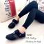 รองเท้าผ้าใบ หนังกลับ สายรัดเมจิกเทป น้ำหนักเบา (สีดำ ) thumbnail 3