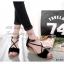 รองเท้าส้นเตี้ยรัดข้อสีดำ หนังกำมะหยี่นิ่ม แต่งซิปหลัง (สีดำ )