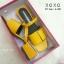 รองเท้าส้นเตี้ยรัดส้นสีเหลือง วัสดุพียู ส้นไม้ (สีเหลือง ) thumbnail 4