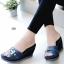 รองเท้าแตะส้นเตารีด ทรงสวม เปิดส้น (สีน้ำเงิน ) thumbnail 1