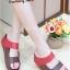 รองเท้าแตะผู้หญิง เปิดส้น สายคาดสองตอน (สีแดง )