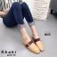 รองเท้าส้นเตี้ยเปิดส้นสีกากี แต่งอะไหล่ทอง GG (สีกากี ) thumbnail 2