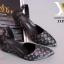 รองเท้าส้นเตารีด เปิดส้น หัวแหลม ผ้าทอลายLV (สีดำ ) thumbnail 3